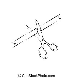 Ceremony ribbon cut sign. Vector. Black dotted icon on white background. Isolated.
