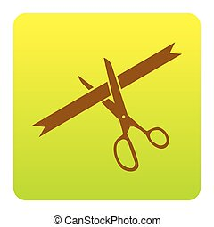 Ceremony ribbon cut sign. Vector. Brown icon at green-yellow gradient square with rounded corners on white background. Isolated.