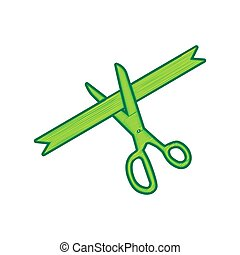 Ceremony ribbon cut sign. Vector. Lemon scribble icon on white background. Isolated