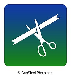 Ceremony ribbon cut sign. Vector. White icon at green-blue gradient square with rounded corners on white background. Isolated.