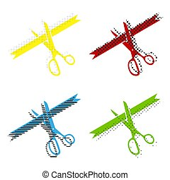 Ceremony ribbon cut sign. Vector. Yellow, red, blue, green icons