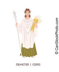 ceres, římský, samičí, božstvo, zemědělství, starobylý, demeter, -, osamocený, náboženství, majetek, neposkvrněný, byt, grafické pozadí., sklízet, karikatura, bohyně, illustration., sklidit, řečtina, mythology., vektor, grán, nebo
