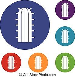 Cereus Candicans cactus icons set