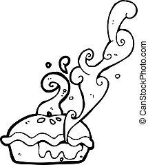 cereza, caliente, pastel, caricatura