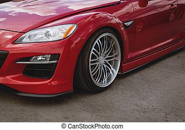 cereza, coche rojo, frente, detalle