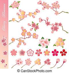 cereza, conjunto, flores, iconos