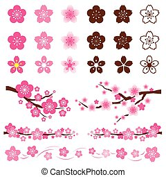 cereza, conjunto, ornamento, flores