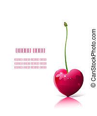 cereza, en forma de corazón