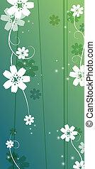 cereza, flor, y, vides, patrón