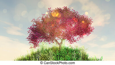 cereza, globo, árbol, herboso, 3d