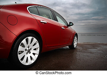 cereza, lujo, coche rojo