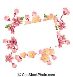 cereza, marco, flores