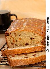 cereza, pasa, bread