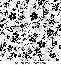 cereza, ramita, blossoms., seamless