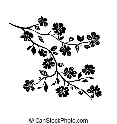 cereza, ramita, flores