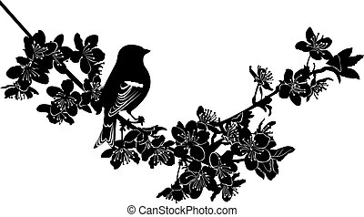 cereza, ramita, pájaro, flores