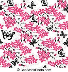 cereza, ramita, seamless, flores, butterfly.