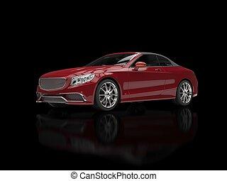 cereza, rojo, negocio moderno, coche, -, en, negro, reflexivo, plano de fondo