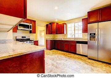cereza, stinless, appliances., madera, nuevo, robar, cocina