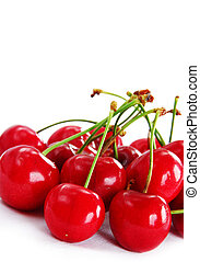 cerezas, rojo, apetitoso