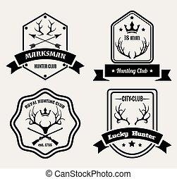cerf, chasse, insignes