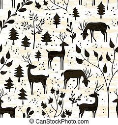 cerf, dans, hiver, forêt