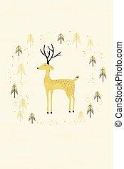 cerf, dans, hiver, forêt pin, carte