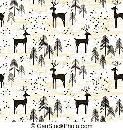cerf, dans, hiver, forêt pin