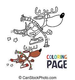 cerf, dessin animé, coloration, page