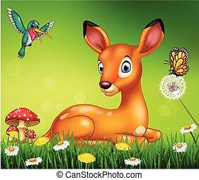 cerf, dessin animé, fond, nature