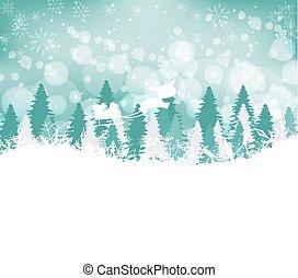 cerf, hiver, fond, forêt