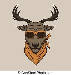 cerf, lunettes, illustration, tête, vecteur