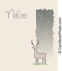cerf, nature, dessiner, fond