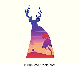 cerf, silhouette, coucher soleil, paysage