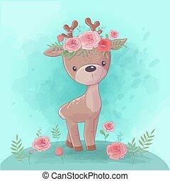 cerf, vecteur, dessin animé, roses, couronne, mignon, aquarelle