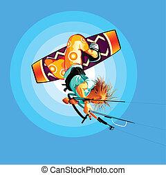 cerf volant, surfeur