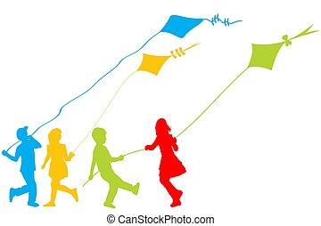 cerfs volants, jouer, coloré, silhouettes, enfants