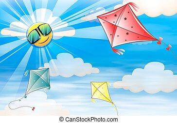 cerfs volants, voler, dans, les, ciel