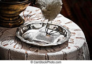 cerimônia, anéis acoplamento, branqueado, cores, casório, bandeja, antes de