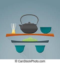cerimônia, apartamento, chá, ilustração, vetorial, matcha,...