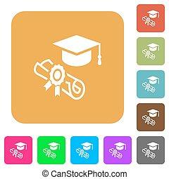 cerimônia, apartamento, quadrado, arredondado, ícones, graduação