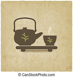 cerimônia, chá, antigas, fundo