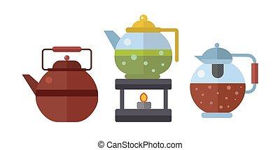 cerimônia chá, tradicional, asiático, bebida, vetorial,...