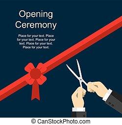 cerimônia, corte, fita, abertura
