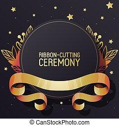 cerimônia, dourado, estilo, illustration., cacheados, shop., bandeira, flyer., abertura, ribbon-cutting, elegante, vetorial, pretas, experiência., anúncio, grandioso, novo, place., fitas, textured, folheto