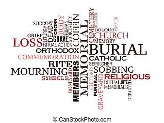 cerimônia, enterro, palavra, funeral, desenho, ou, nuvem