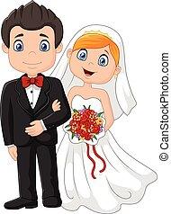 cerimônia, feliz, casório, caricatura, brid