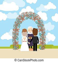 cerimônia, floral, arco, casório