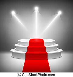 cerimônia, iluminado, distinção, pódio, vetorial, fase