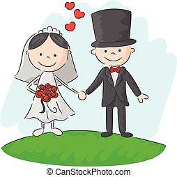 cerimônia, noiva, caricatura, casório